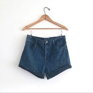 Dark Blue Denim High Waisted Cutoffs Jean Shorts